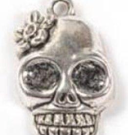 1 PC ASP 23x13mm Skull with Flower Charm