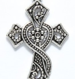 1 PC ASP 37x24mm Ornate Cross Charm