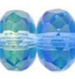 25 PC Firepolish Donut 5x7mm : Blue/Lt. Green