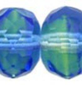 25 PC Firepolish Donut 9x6mm : Blue/Lt. Green