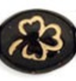 25 PC 9x10mm Oval Clover : Jet Gold Inlay