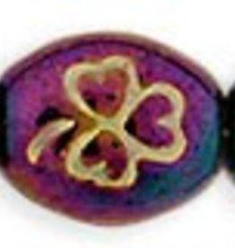 25 PC 9x10mm Oval Clover : Purple Iris Gold Inlay