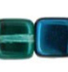 50 PC 6mm Small Flat Square : Teal Blue Iris Half Coat