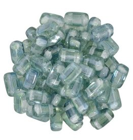50 PC 3x6mm 2 Hole Bricks : Dual Lustered Blue/Green