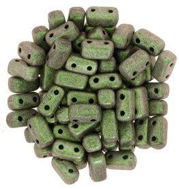 50 PC 3x6mm 2 Hole Bricks : Polychrome Olive Mauve