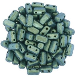 50 PC 3x6mm 2 Hole Bricks : Polychrome Aqua Teal