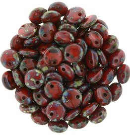 50 PC 6mm Lentil : Opaque Red Picasso