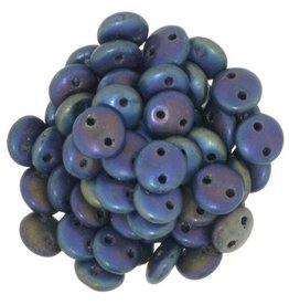 50 PC 6mm 2 Hole Lentil : Matte Blue Iris