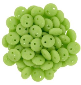 50 PC 6mm 2 Hole Lentil : Opaque Honeydew
