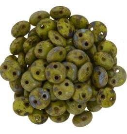 50 PC 6mm 2 Hole Lentil : Opaque Olive Picasso