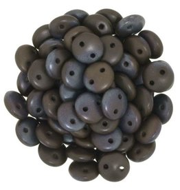 50 PC 6mm 2 Hole Lentil : Matte Chocolate Brown Bronze Vega
