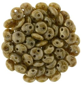50 PC 6mm 2 Hole Lentil : Opaque Beige Bronze Picasso