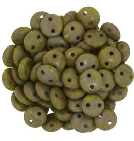 50 PC 6mm 2 Hole Lentil : Opaque Chartreuse Copper Picasso