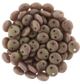 50 PC 6mm 2 Hole Lentil : Matte Ashen Grey Rosaline Luster