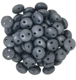 50 PC 6mm 2 Hole Lentil : Matte Hematite