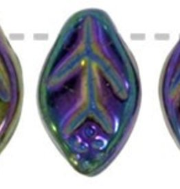 25 PC 7x12mm Leaf : Purple Iris