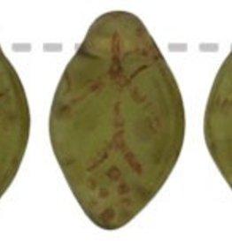 25 PC 7x12mm Leaf : Matte Olivine Picasso