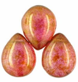 25 PC 12x16mm Pear Drops : Transparent Rose/Gold Luster