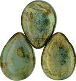25 PC 12x16mm Pear Drops : Milky Peridot Bronze Picasso