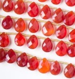 "8.5"" 7x10mm Faceted Briolette : Carnelian"