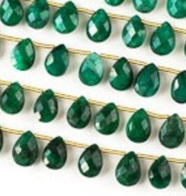 "8.5"" 7x10mm Faceted Briolette : Emerald"