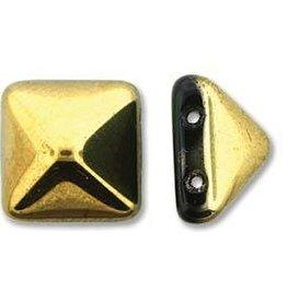 12 PC 12mm 2 Hole Pyramid : Jet Amber
