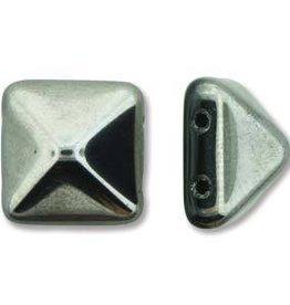 12 PC 12mm 2 Hole Pyramid : Jet Chrome