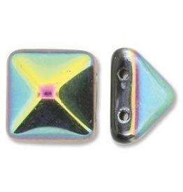 12 PC 12mm 2 Hole Pyramid : Jet Vitrail