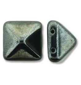 12 PC 12mm 2 Hole Pyramid : Jet Full Chrome