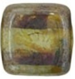 50 PC 6mm 2 Hole Tile : Transparent Green Luster