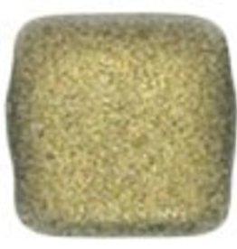 50 PC 6mm 2 Hole Tile : Metallic Suede Gold