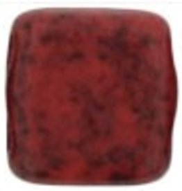 50 PC 6mm 2 Hole Tile : Opaque Red Black Picasso