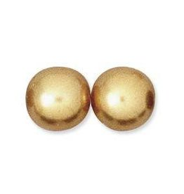 55 PC 8mm Round Glass Pearl : Gold
