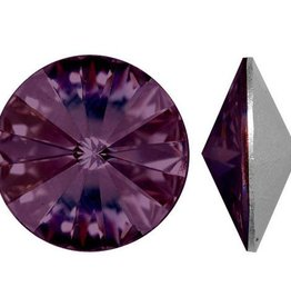 2 PC 14mm Swarovski Rivoli : Amethyst Foil Back