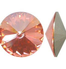 2 PC 12mm Swarovski Rivoli : Rose Peach Foil Back