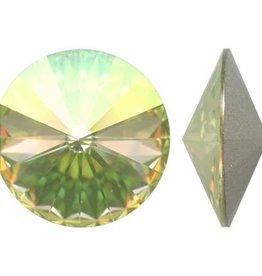 2 PC 12mm Swarovski Rivoli : Luminous Green Foil Back