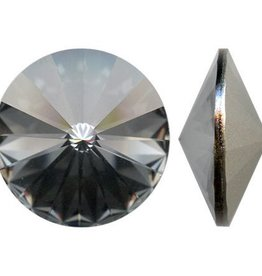 2 PC 12mm Swarovski Rivoli : Crystal Silver Night Foil Back