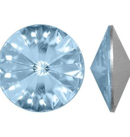 2 PC 12mm Swarovski Rivoli : Crystal Blue Shade Foil Back