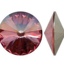 2 PC 12mm Swarovski Rivoli : Antique Pink Foil Back