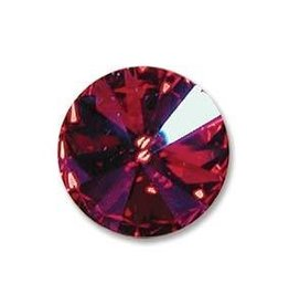 2 PC 12mm Swarovski Rivoli : Fuchsia Glacier Blue Foil Back