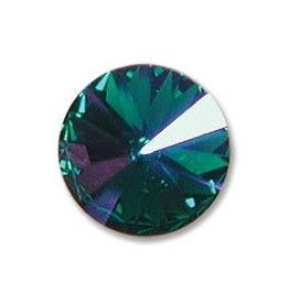2 PC 12mm Swarovski Rivoli : Emerald Glacier Blue Foil Back