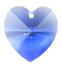 1 PC 14mm Swarovski Heart Pendant : Sapphire
