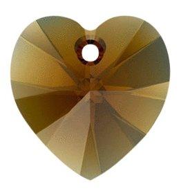 1 PC 14mm Swarovski Heart Pendant : Bronze Shade