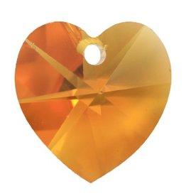 2 PC 10mm Swarovski Heart Pendant : Topaz