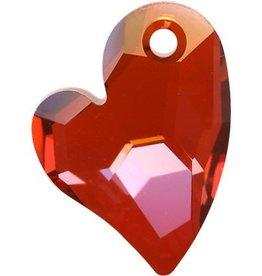 1 PC 17mm Swarovski Devoted Heart Pendant : Red Magma
