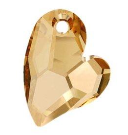 1 PC 17mm Swarovski Devoted Heart Pendant : Golden Shadow