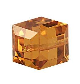 4 PC 4mm Swarovski Cube : Topaz