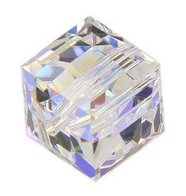 4 PC 4mm Swarovski Cube : Crystal AB