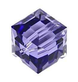 4 PC 4mm Swarovski Cube : Tanzanite