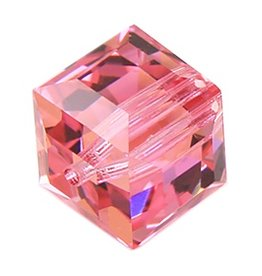 4 PC 4mm Swarovski Cube : Rose